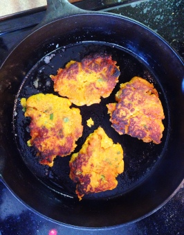 Sweet Potato Pancakes in the Pan