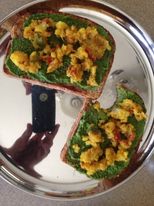Aloo Sabzi on Bread with Coriander Chutney