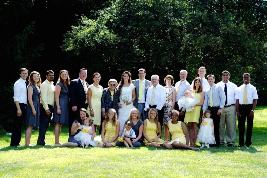 JoAnna's Wedding Party (My husband is third in from the left and I am fourth in from the left)