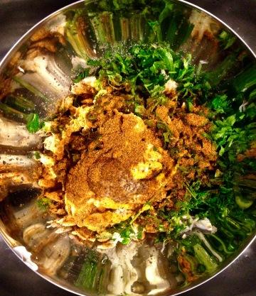 Crab Cake Ingredients Reading for Mixing