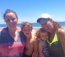 beach with mom and kids